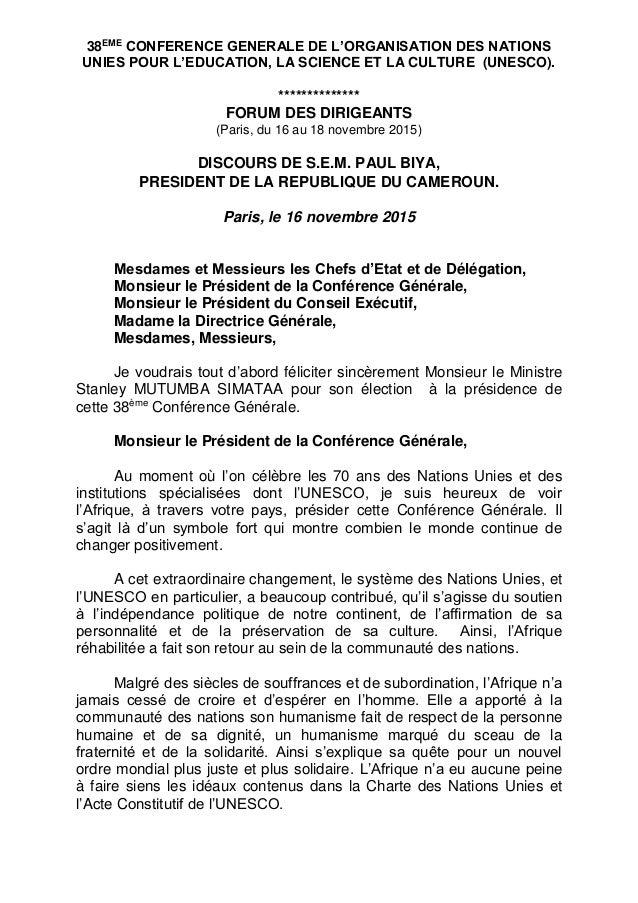 38EME CONFERENCE GENERALE DE L'ORGANISATION DES NATIONS UNIES POUR L'EDUCATION, LA SCIENCE ET LA CULTURE (UNESCO). *******...