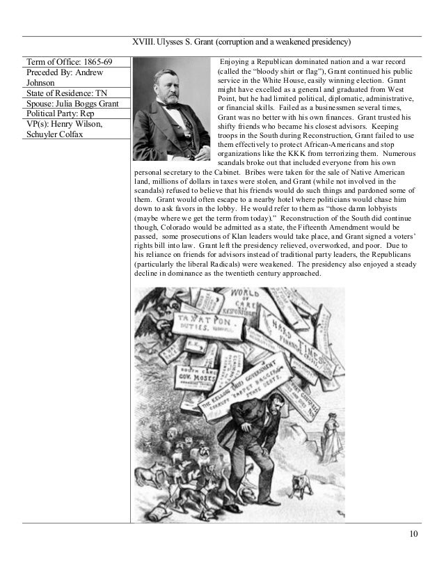 an analysis of ulysses grants presidency and the issues during his administration By 1872, president ulysses s grant had alienated large numbers of leading republicans, including many radicals, with the corruption of his administration and his use of federal soldiers to prop up radical state regimes in the south.