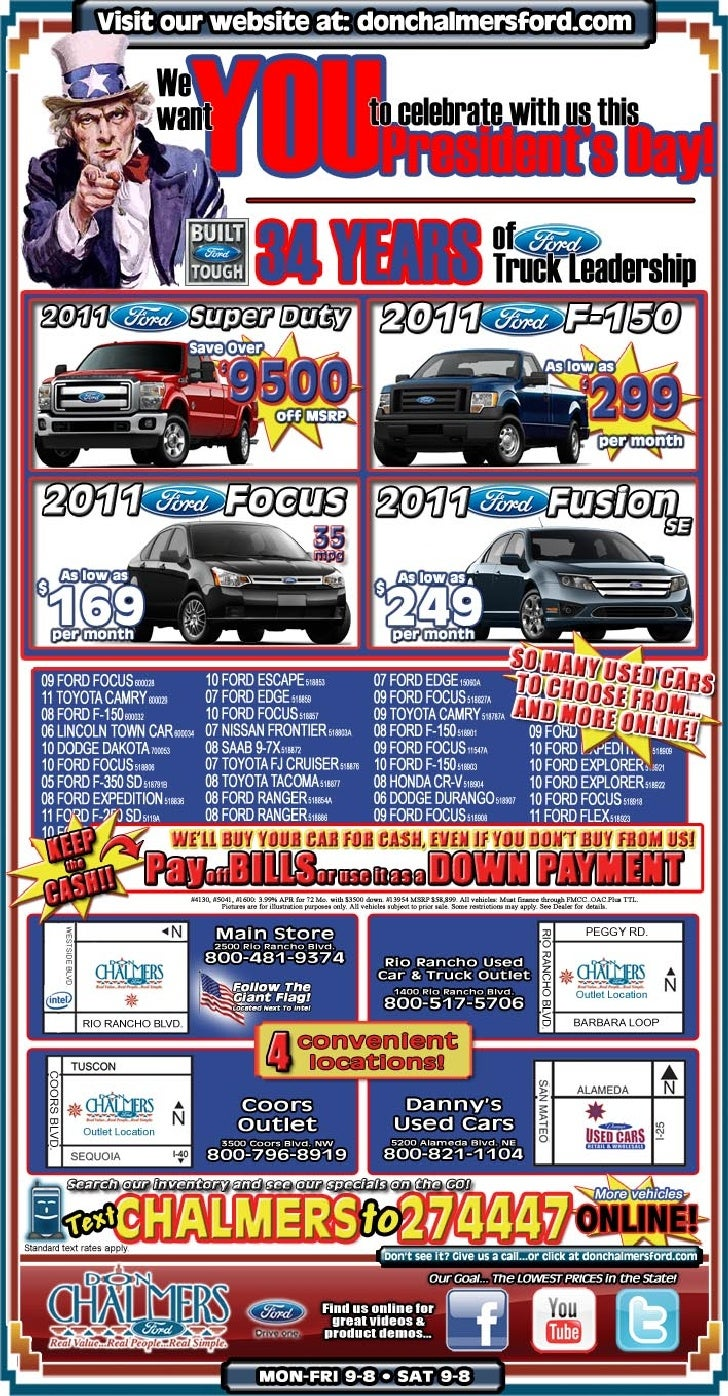 President's Day Sale Special – Don Chalmers Ford Rio Rancho NM