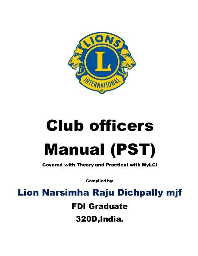 President,secretary, treasurer manual of lions clubs