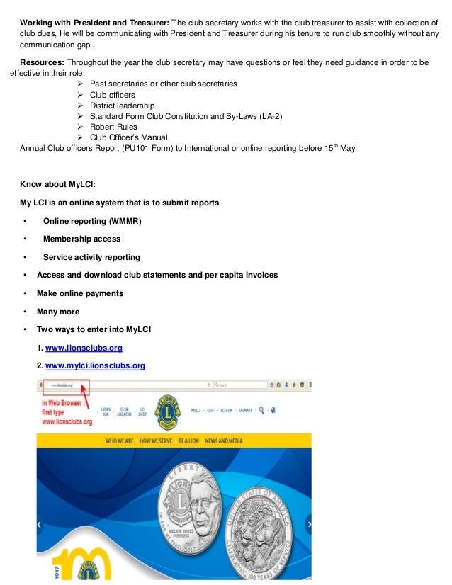President,secretary, treasurer manual of lions clubs internatioanl