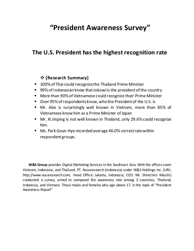 """""""President Awareness Survey"""" The U.S. President has the highest recognition rate  [Research Summary]  100% of Thai could..."""