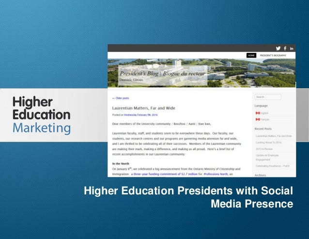 Higher Education Presidents with Social Media Presence Slide 1 Higher Education Presidents with Social Media Presence