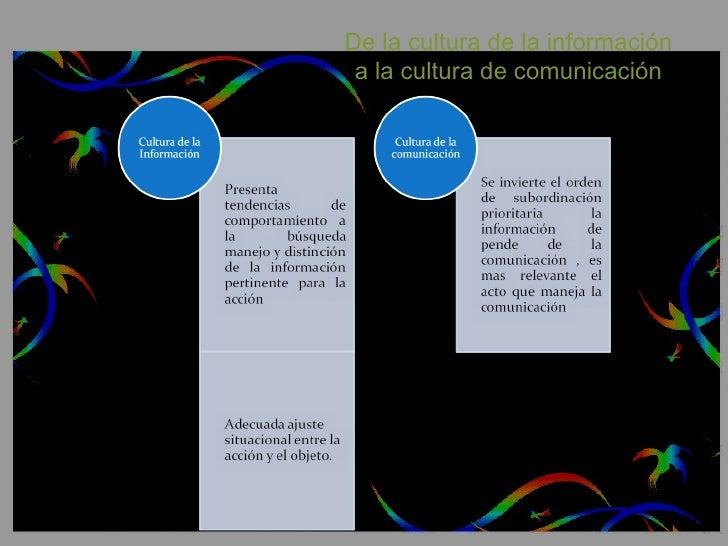 De la cultura de la información  a la cultura de comunicación