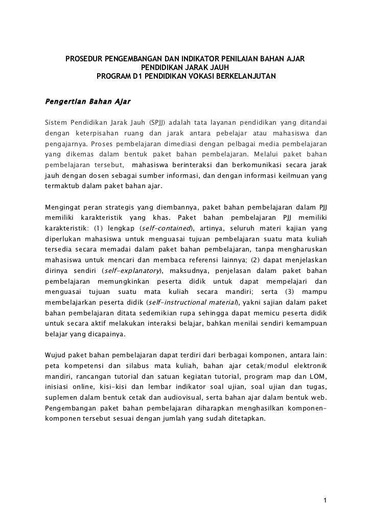 PROSEDUR PENGEMBANGAN DAN INDIKATOR PENILAIAN BAHAN AJAR                       PENDIDIKAN JARAK JAUH             PROGRAM D...