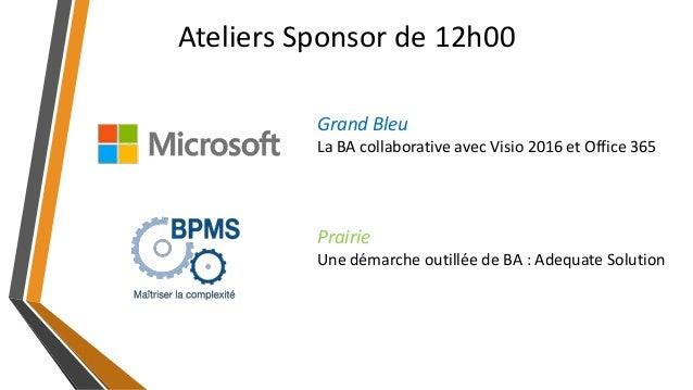Ateliers Sponsor de 12h00 Prairie Une démarche outillée de BA : Adequate Solution Grand Bleu La BA collaborative avec Visi...