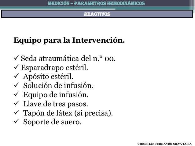 MEDICIÓN – PARAMETROS HEMODINÁMICOS                       reactivosEquipo para la Intervención. Seda atraumática del n.° ...