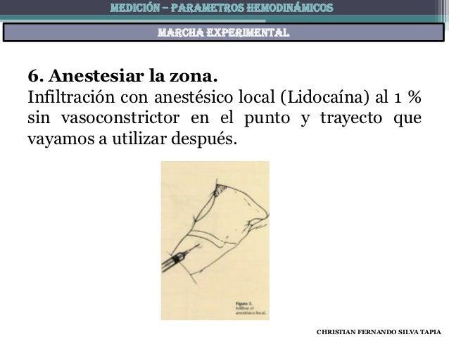 MEDICIÓN – PARAMETROS HEMODINÁMICOS                 Marcha experimental6. Anestesiar la zona.Infiltración con anestésico l...