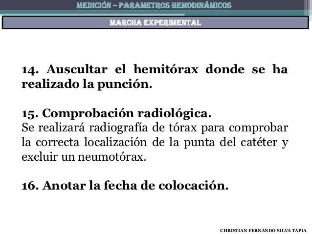 MEDICIÓN – PARAMETROS HEMODINÁMICOS                 Marcha experimental14. Auscultar el hemitórax donde se harealizado la ...