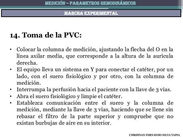 MEDICIÓN – PARAMETROS HEMODINÁMICOS                      Marcha experimental14. Toma de la PVC:• Colocar la columna de med...