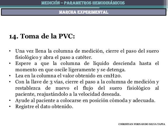 MEDICIÓN – PARAMETROS HEMODINÁMICOS                      Marcha experimental14. Toma de la PVC:• Una vez llena la columna ...
