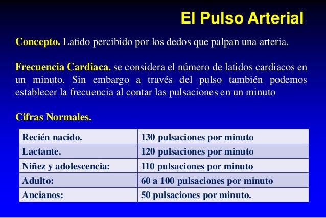 El Pulso Arterial Concepto. Latido percibido por los dedos que palpan una arteria. Frecuencia Cardiaca. se considera el nú...