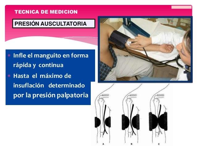  Infle el manguito en forma rápida y continua  Hasta el máximo de insuflación determinado por la presión palpatoria TECN...