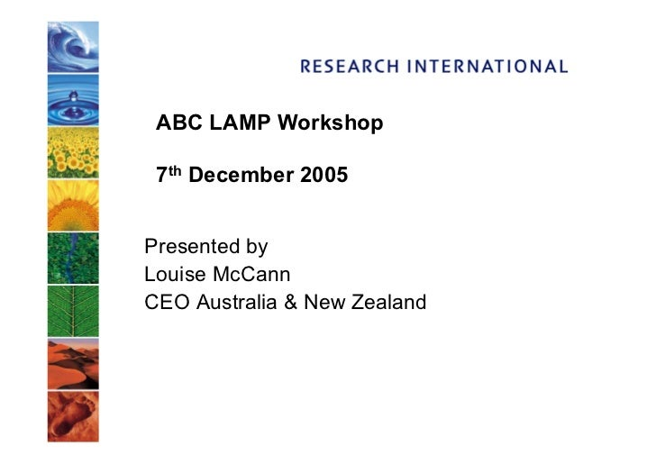 ABC LAMP Workshop   7th December 2005   Presented by Louise McCann CEO Australia  New Zealand