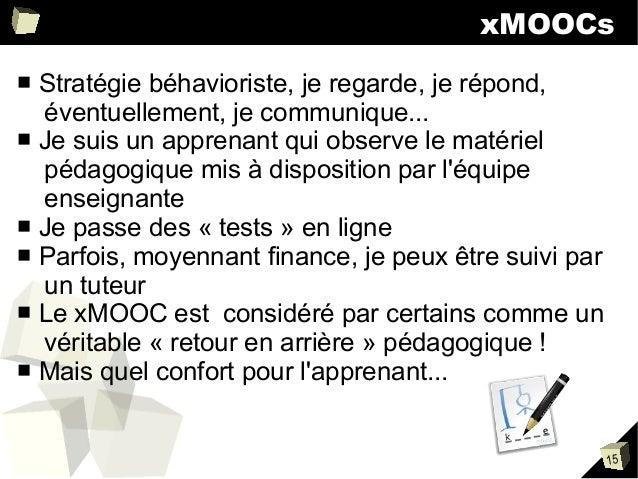 xMOOCs Stratégie béhavioriste, je regarde, je répond, éventuellement, je communique... ■ Je suis un apprenant qui observe ...