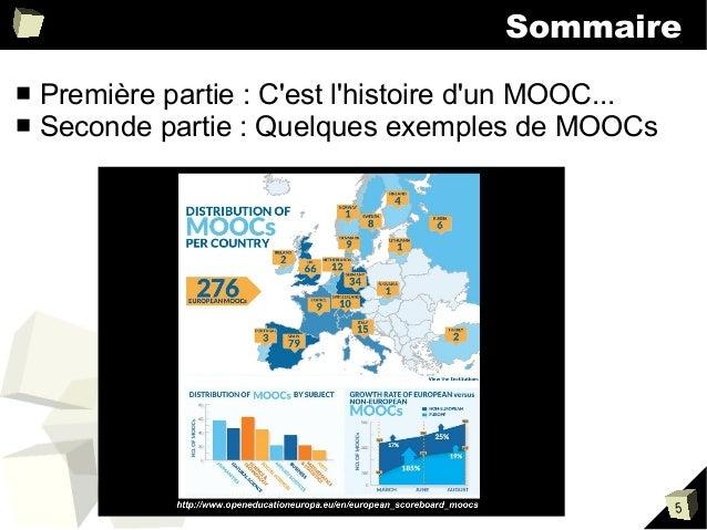 Sommaire ■ ■  Première partie : C'est l'histoire d'un MOOC... Seconde partie : Quelques exemples de MOOCs  5
