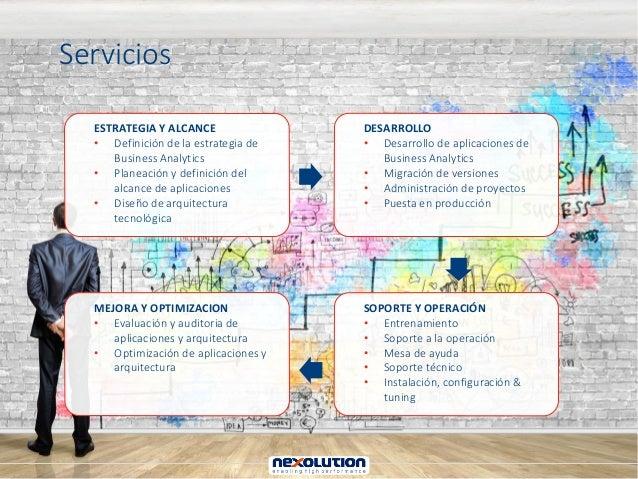 Servicios ESTRATEGIA Y ALCANCE • Definición de la estrategia de Business Analytics • Planeación y definición del alcance d...