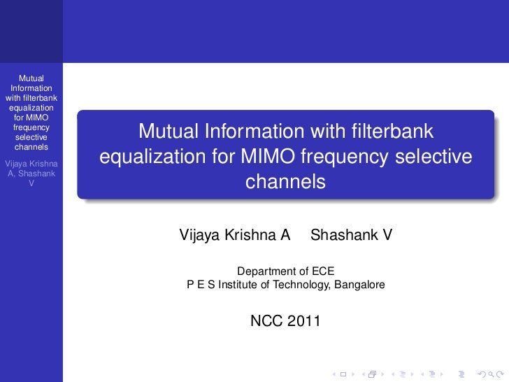 Mutual Informationwith filterbank equalization  for MIMO  frequency   selective         Mutual Information with filterbank  ...