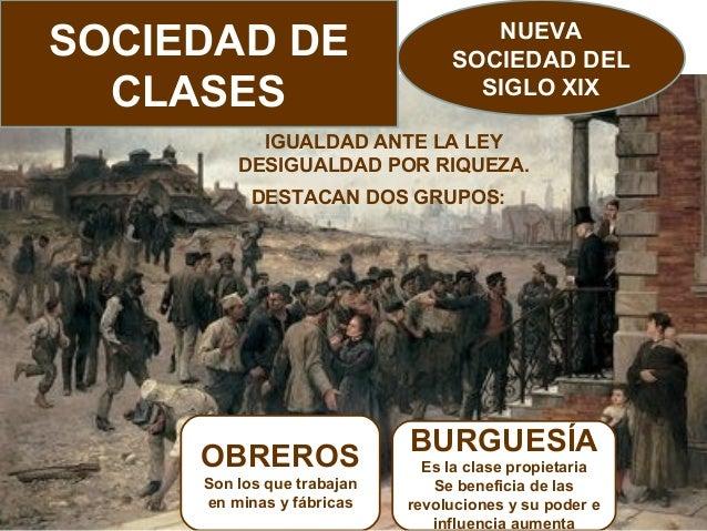 SOCIEDAD DE CLASES  NUEVA SOCIEDAD DEL SIGLO XIX  IGUALDAD ANTE LA LEY DESIGUALDAD POR RIQUEZA. DESTACAN DOS GRUPOS:  OBRE...