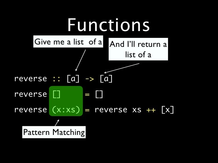 Functions         Give me a list of a And I'll return a                                list of a  •   reverse :: [a] -> [a...