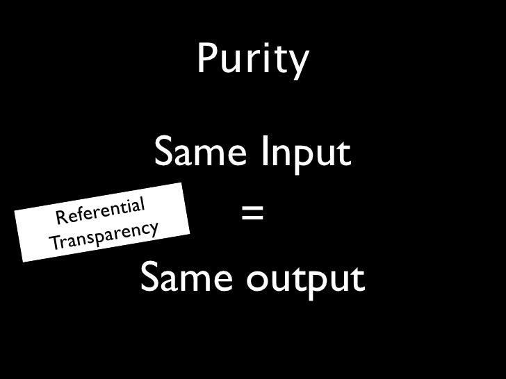 Purity  •             Same Input •       ntial  Refere cy Transp aren                   = •           Same output