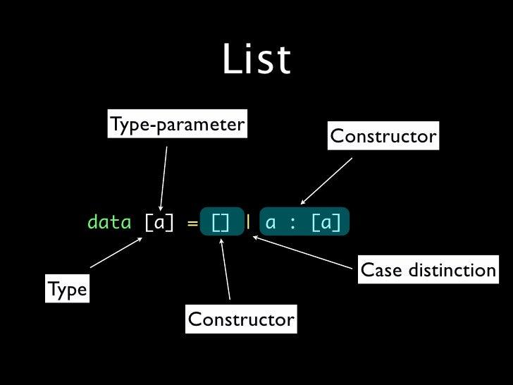 List        Type-parameter                              Constructor     •   data[a]=[]|a: [a]                       ...