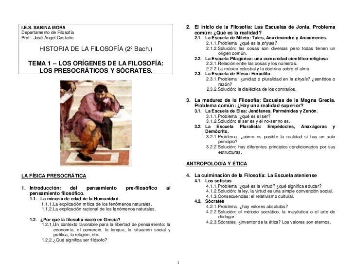 I.E.S. SABINA MORA                                                             2. El inicio de la Filosofía: Las Escuelas ...