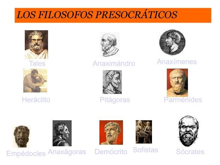 LOS FILOSOFOS PRESOCRÁTICOS Tales Anaximándro Anaxímenes Pitágoras Heráclito   Parménides Empédocles Anaxágoras Demócrito ...