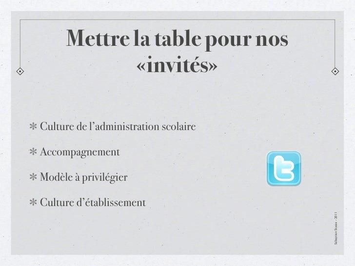 Mettre la table pour nos             «invités»Culture de l'administration scolaireAccompagnementModèle à privilégierCultur...