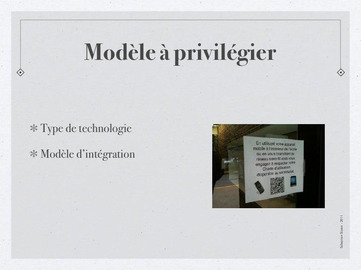 Modèle à privilégierType de technologieModèle d'intégration                                Sébastien Stasse - 2011