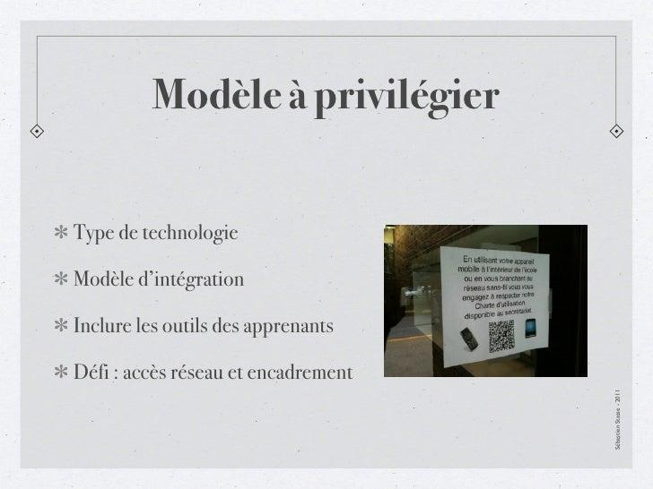 Modèle à privilégierType de technologieModèle d'intégrationInclure les outils des apprenantsDéfi : accès réseau et encadre...
