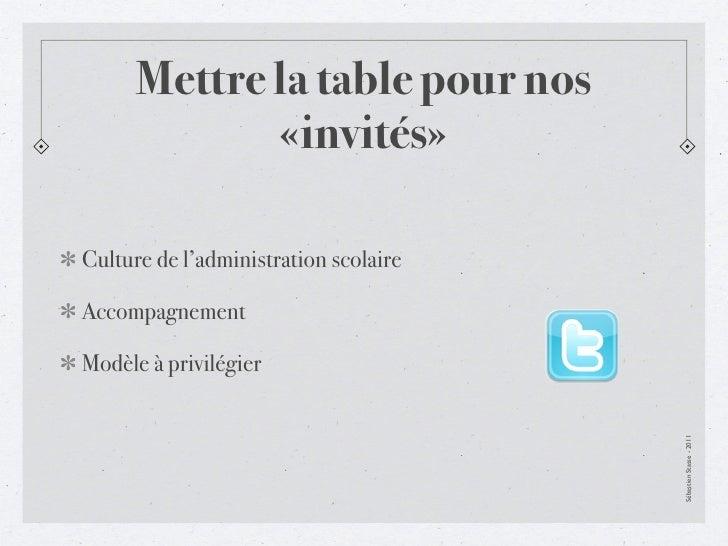 Mettre la table pour nos             «invités»Culture de l'administration scolaireAccompagnementModèle à privilégier      ...