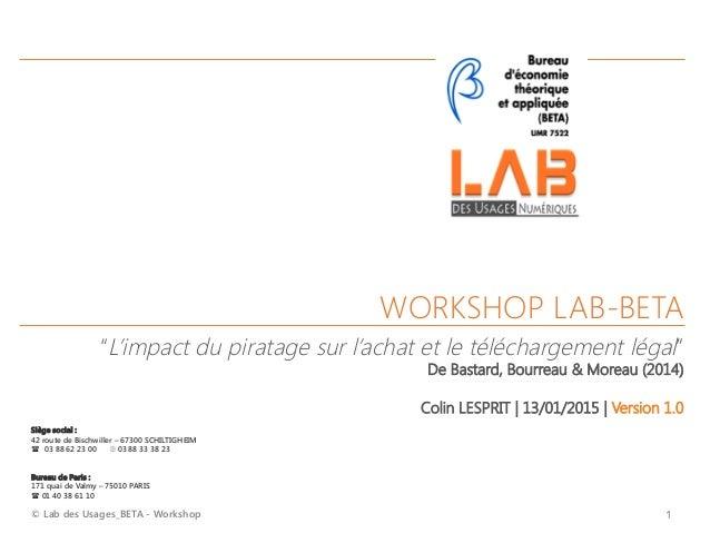 © Lab des Usages_BETA - Workshop  1 WORKSHOP LAB-BETA     Siège social :  42 route de Bischwiller – 67300 SCHILTIGHEIM (...