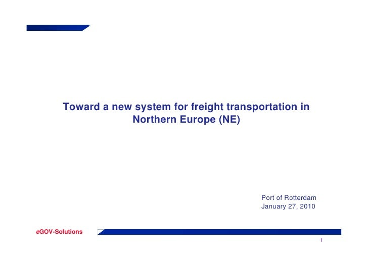 Toward a new system for freight transportation in                     Northern Europe (NE)                                ...