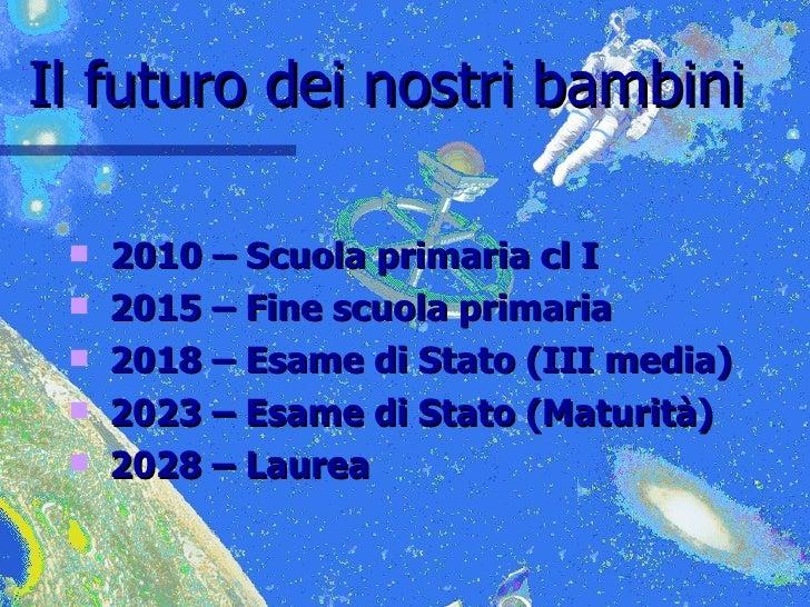 Il futuro dei nostri bambini <ul><li>2010 – Scuola primaria cl I </li></ul><ul><li>2015 – Fine scuola primaria </li></ul><...