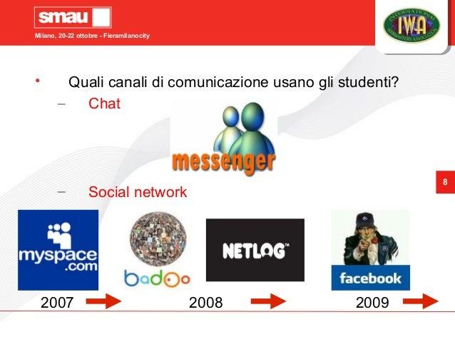 Milano, 20-22 ottobre - Fieramilanocity 8 2007 2008 2009 • Quali canali di comunicazione usano gli studenti? – Chat – Soci...
