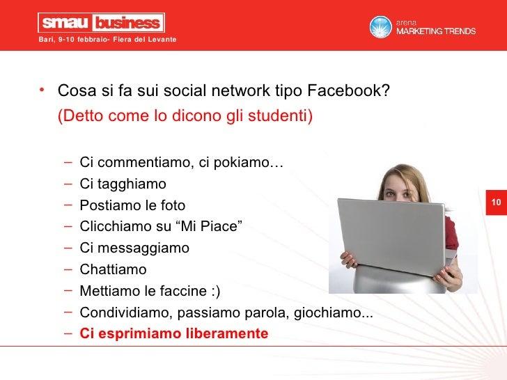 <ul><li>Cosa si fa sui social network tipo Facebook? </li></ul><ul><li>(Detto come lo dicono gli studenti) </li></ul><ul><...