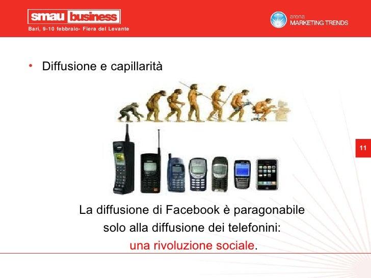 <ul><li>Diffusione e capillarità </li></ul><ul><li>La diffusione di Facebook è paragonabile  </li></ul><ul><li>solo alla d...