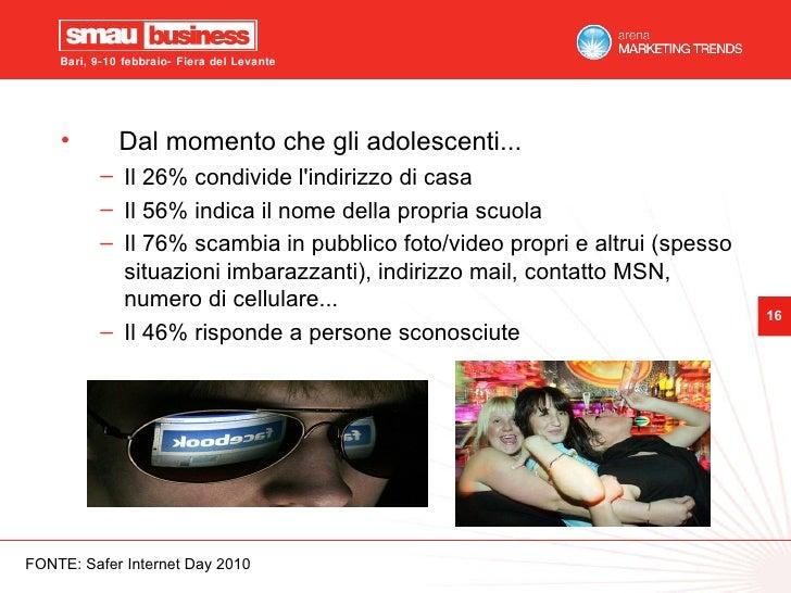 <ul><li>Dal momento che gli adolescenti... </li></ul><ul><ul><li>Il 26% condivide l'indirizzo di casa </li></ul></ul><ul><...