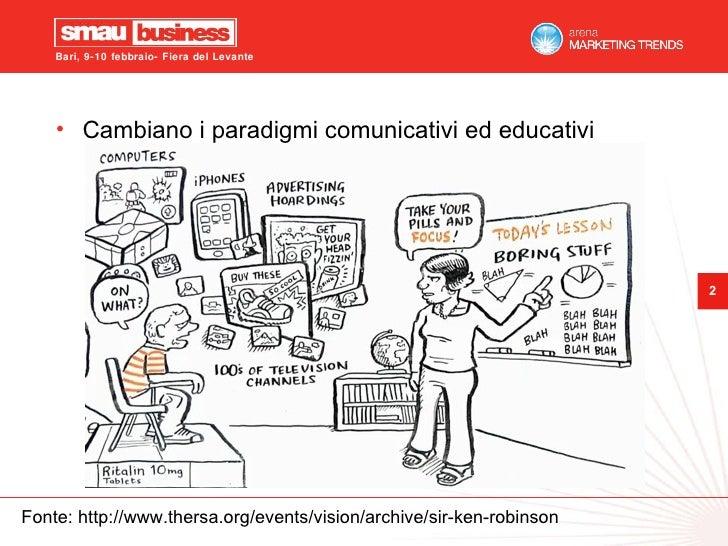 Fonte: http://www.thersa.org/events/vision/archive/sir-ken-robinson <ul><li>Cambiano i paradigmi comunicativi ed educativi...