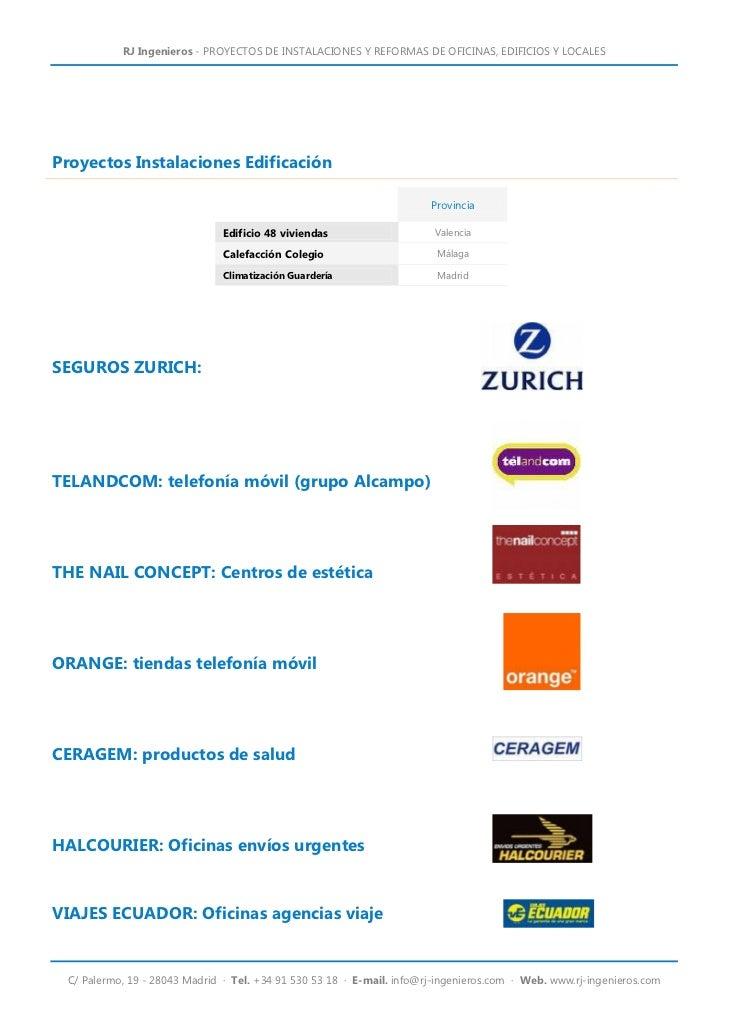 Rj ingenieros servicios profesionales for Oficina zurich valencia