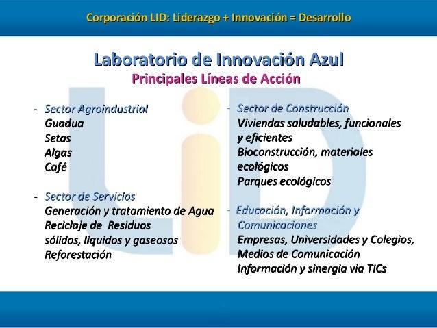 Corporación LID: Liderazgo + Innovación = Desarrollo  Laboratorio de Innovación Azul Principales Líneas de Acción - Sector...