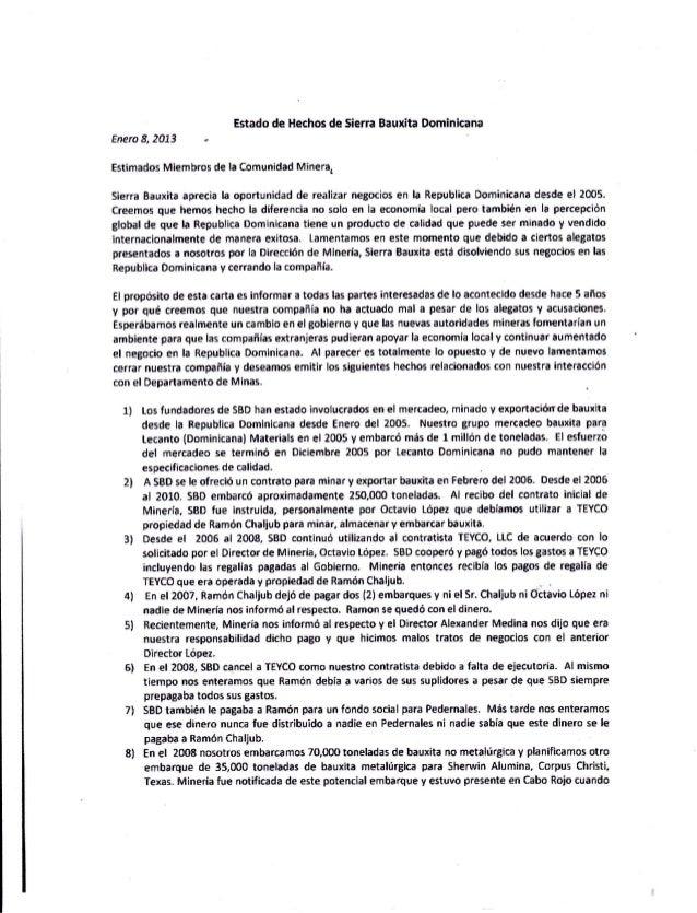 Estsdo de llechns de Sierra B*uxFta DominicanaFners 8, fO13Ertimados Miembros de la Comunidad Minera,Sierra Bauxita apreci...