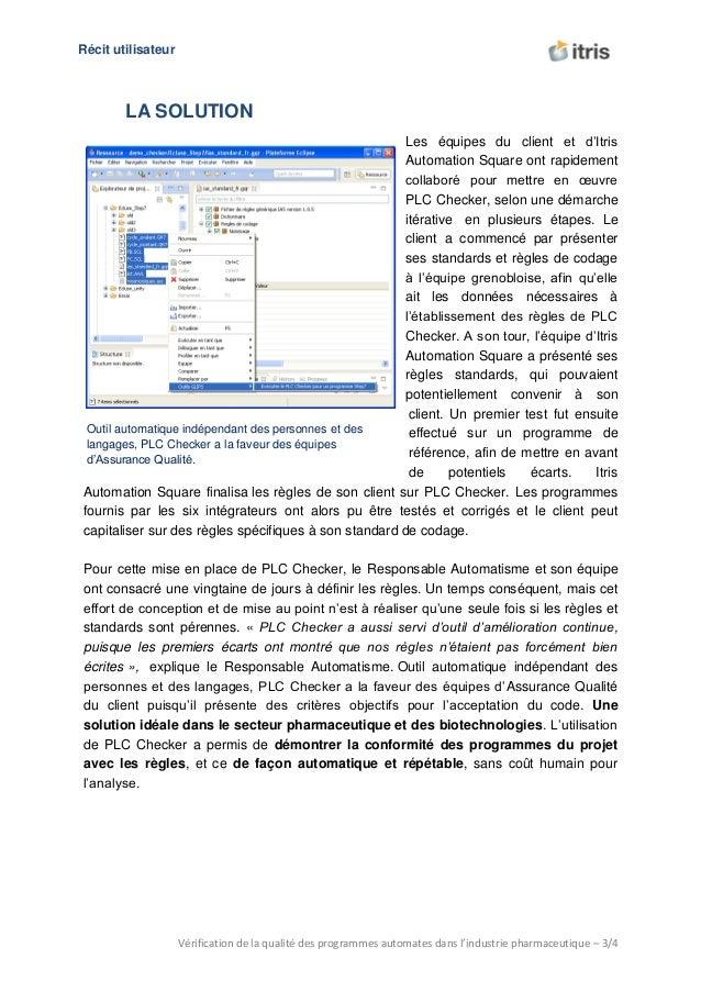 U Récit utilisateur Vérification de la qualité des programmes automates dans l'industrie pharmaceutique – 3/4 Outil automa...