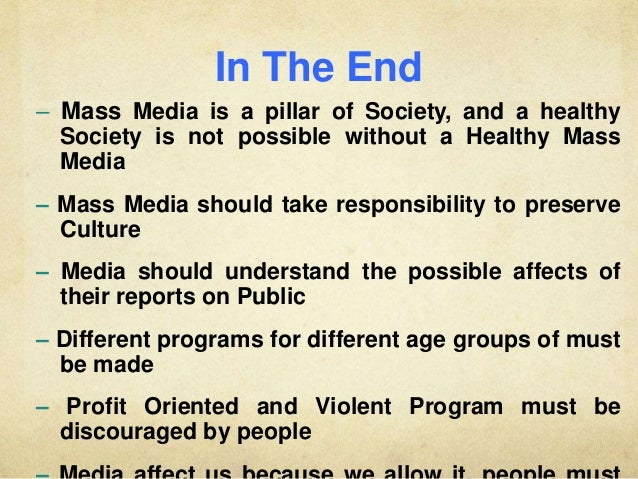 importance of mass media in society