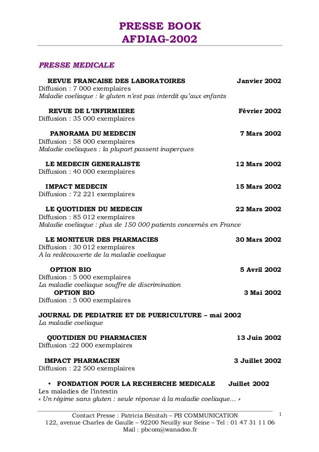 PRESSE BOOK AFDIAG-2002 Contact Presse : Patricia Bénitah – PB COMMUNICATION 122, avenue Charles de Gaulle – 92200 Neuilly...