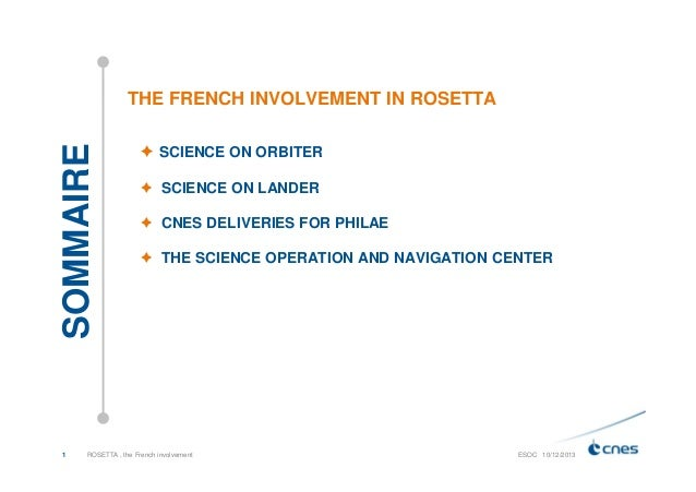 SOMMAIRE  THE FRENCH INVOLVEMENT IN ROSETTA  1  SCIENCE ON ORBITER SCIENCE ON LANDER CNES DELIVERIES FOR PHILAE THE SCIENC...