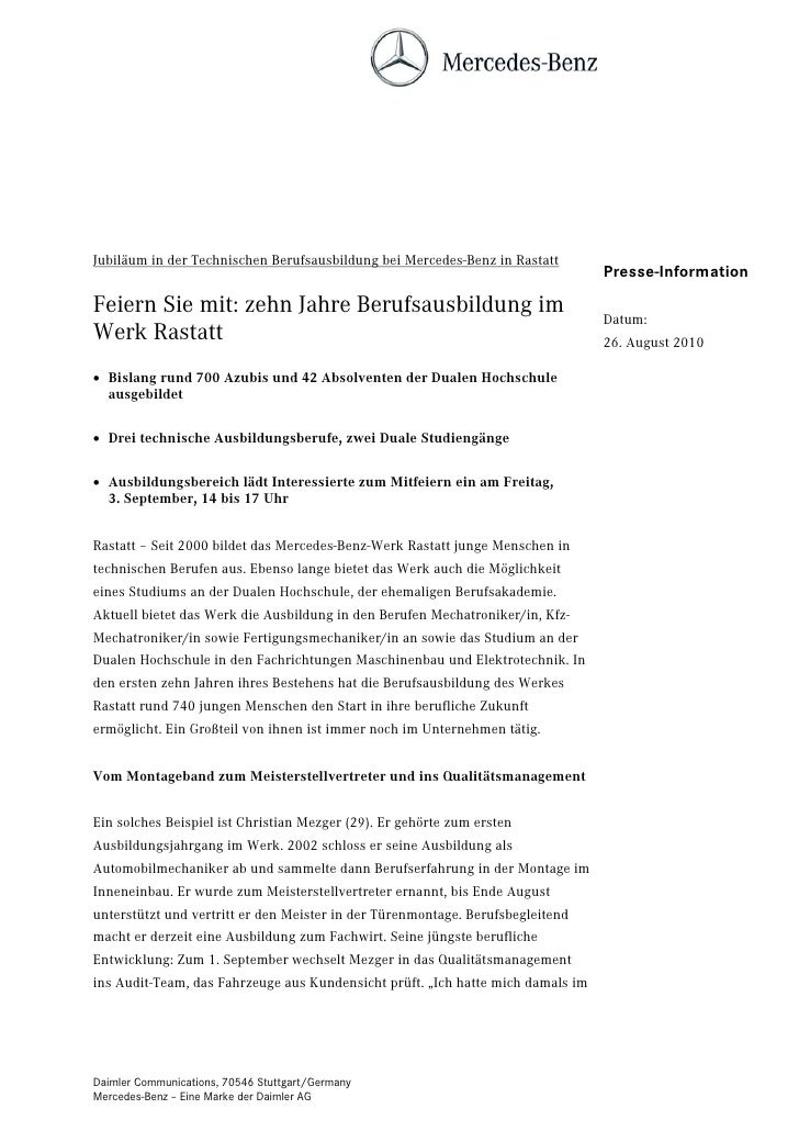 Jubiläum in der Technischen Berufsausbildung bei Mercedes-Benz in Rastatt                                                 ...