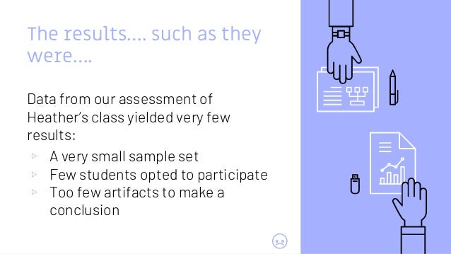 The results…. such as they were…. Data from our assessment of Heather's class yielded very few results: ▹ A very small sam...