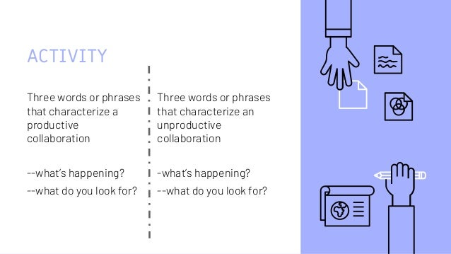 ACTIVITY Three words or phrases that characterize a productive collaboration --what's happening? --what do you look for? T...